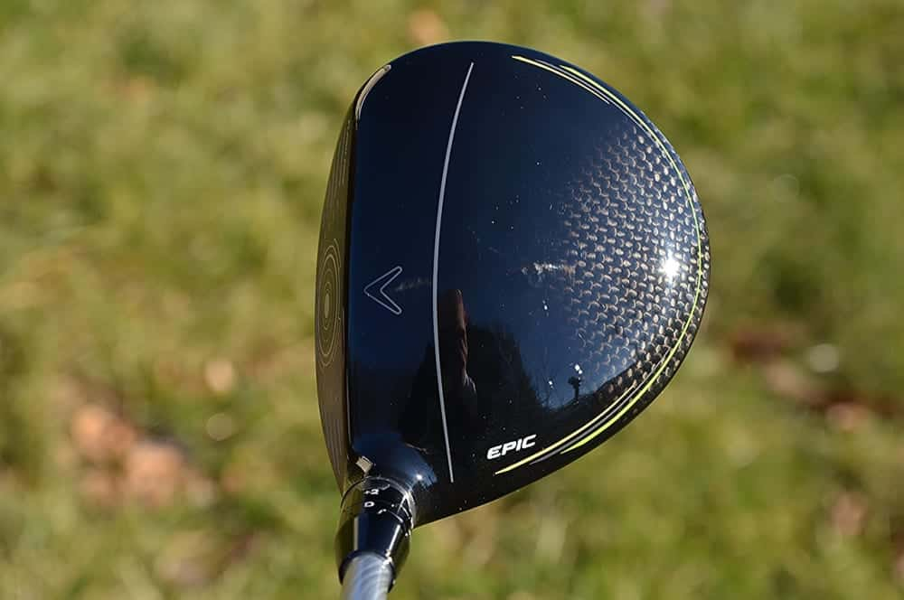 Callaway Epic Flash Crown with Lineup mark/ Callaway logo on top of carbon black color.