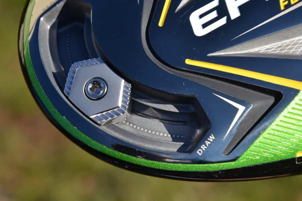 Callaway Epic Flash Driver shocasing the Draw/Fade Slider Technology on the sole side of the club.
