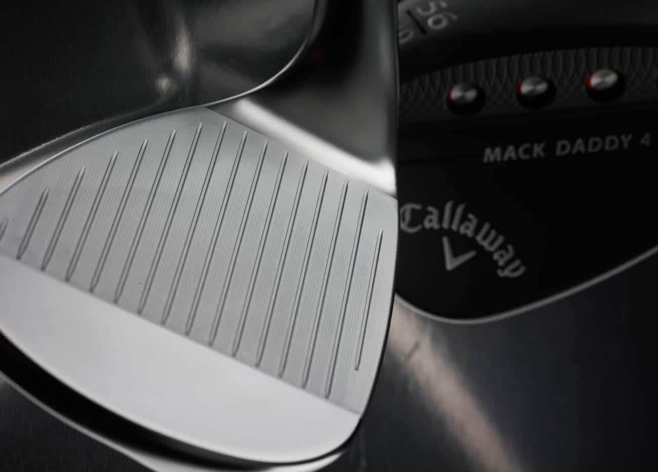 Callaway Mack Daddy 4 close up shot of the face of the club to document the new groove-in-groove technology for 2018