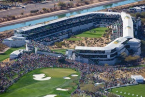 Overhead shot of the 16th hole setup at the Waste Management Phoenix Open at TPC Scottdale outside of Phoenix, AZ