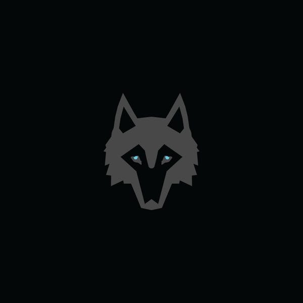 Greyson Clothiers Logo. Grey wolf head with baby blue eyes and a black background