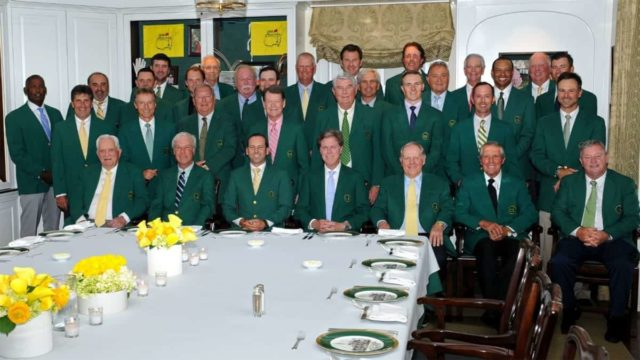 Group Photo of Past Masters Champions wearing their green jackets gathered for the 2018 pre-masters champions meal at Augusta