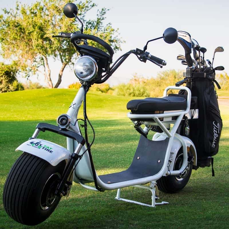 Phat Golf Scooters White Scooter with Black Golf Bag attached on back via mount