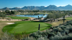 The green on hole 1 at TPC Scottdale outside of Phoenix, AZ