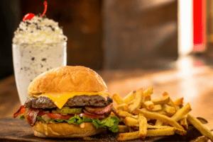 Cheeseburgers, Fries, and a milkshake.