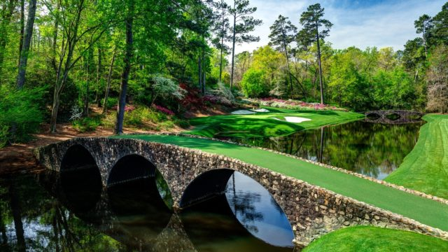 The Hogan Bridge leads to hole 12 at Augusta National Golf Club 2016.