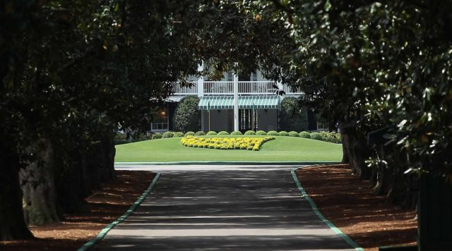 Augusta National Magnolia Lane wiht the club house and the flag pole.