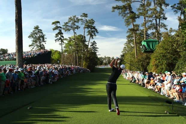 Justin Rose of England plays his shot from the 18th tee during the final round of the 2017 Masters Tournament at Augusta National Golf Club on April 9, 2017 in Augusta, Georgia.
