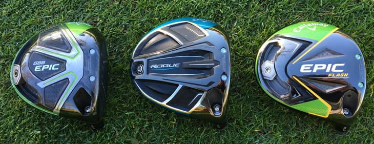 3 Driver Heads. From left Callaway Epic, Callaway Rogue, and Callaway new for 2019 Epic Flash Driver Head