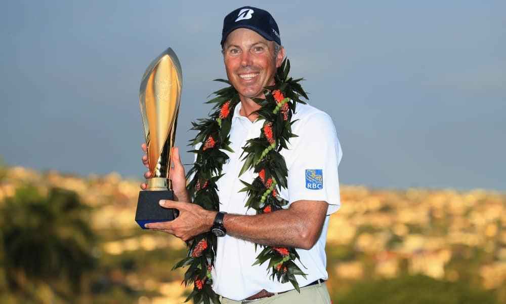 Matt Kuchar of the United States poses with the trophy after winning the Sony Open In Hawaii