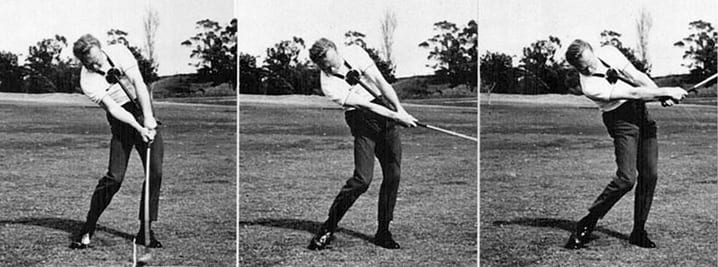 3 images next one another shocasing Mike Austin demonstrating his signature Swing. Black and White Colors.. Longest drive in a pga tour event