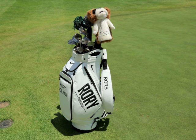 Rory McIlroy's Golf Bag pictured in white with black writing text of