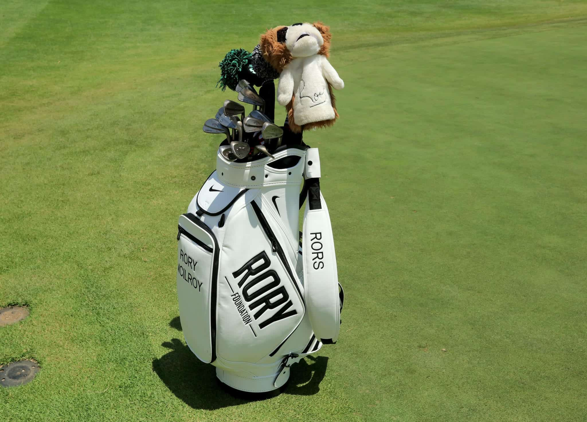"""Rory McIlroy's Golf Bag pictured in white with black writing text of """"RORY"""""""