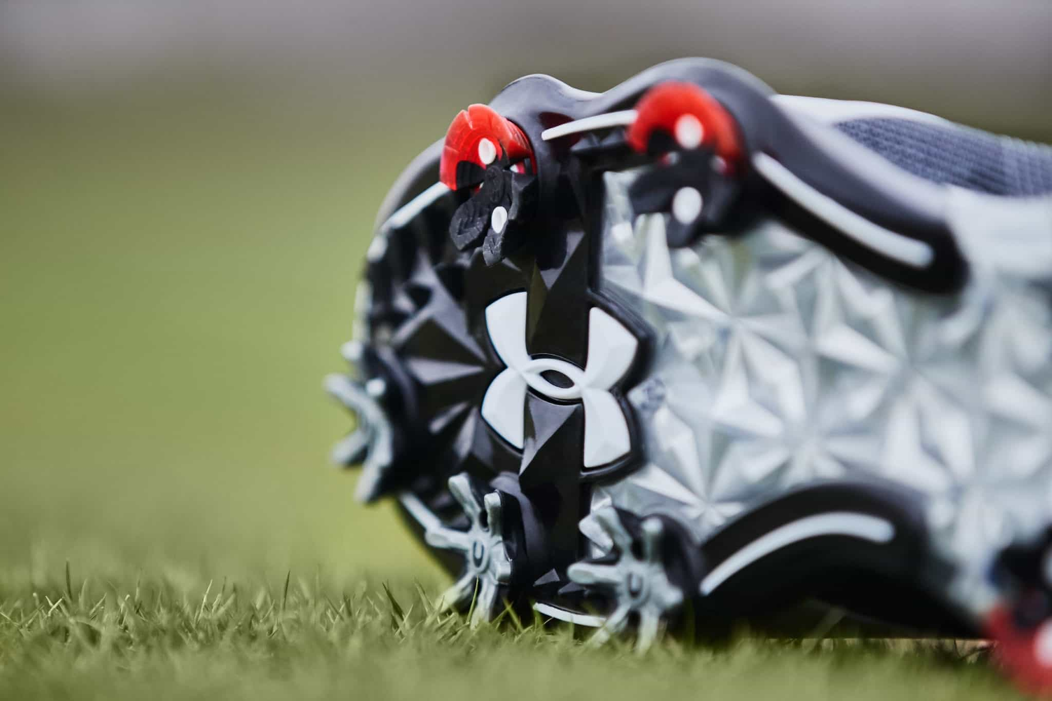 Up close shot of the Spieth 2 under armour golf shoes. Up close to the removable spikes