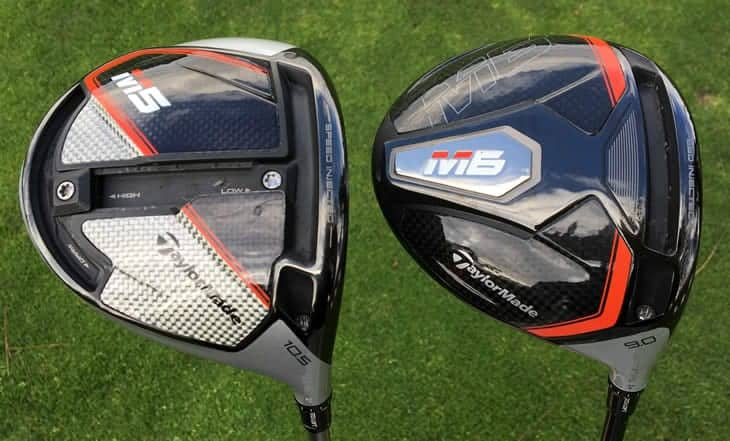 2 golf clubs. On the left TaylorMade M5 Driver and on the right is TaylorMade M6 Fairway Wood
