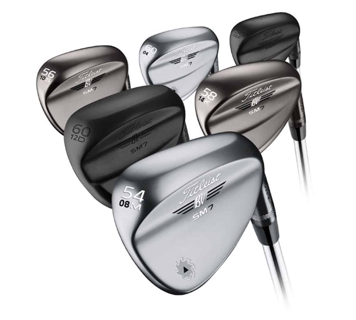 6 Titleist Vokey SM7 Wedges in 3 different finishes. Chrome, Brushed Steel, Raw, Slate Blue, and Brushed Steel Options.