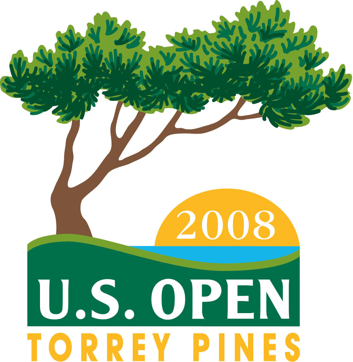 Logo for the 2008 U.S. Open at Torrey Pines with a tree and sunset graphic