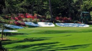View of the 13th green, nicknamed Azalea, at Augusta National Golf Club. Amen Corner