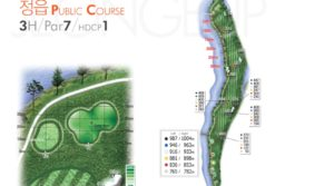 drawing of the par-7 hole with yardage labels at gunsan country club in south korea
