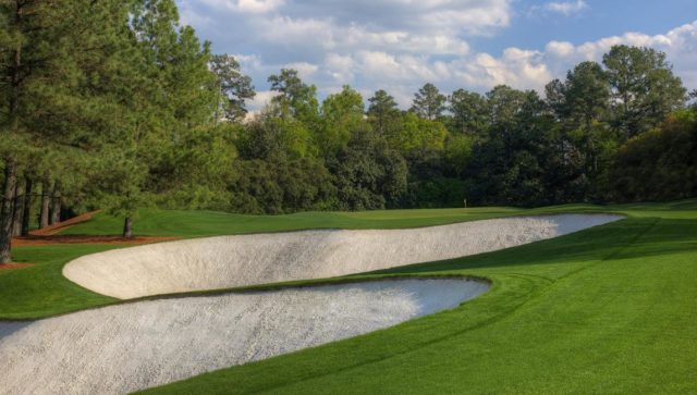 View of the bunkers on the 5th hole at Augusta National Golf Club
