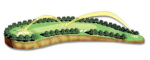 Computer graphic overhead view of the 5th hole at Augusta National Golf Club