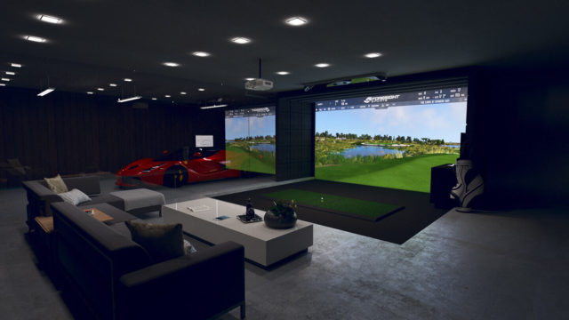 Foresight Sports GCHawk Golf Simulator in a luxury living room setup with a red luxury sports car