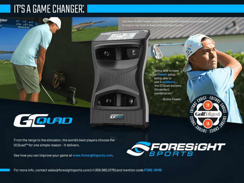 Foresight Sports GCHawk Golf Simulator ad with Ricky Fowler wearing a backwards hat swinging the golf club