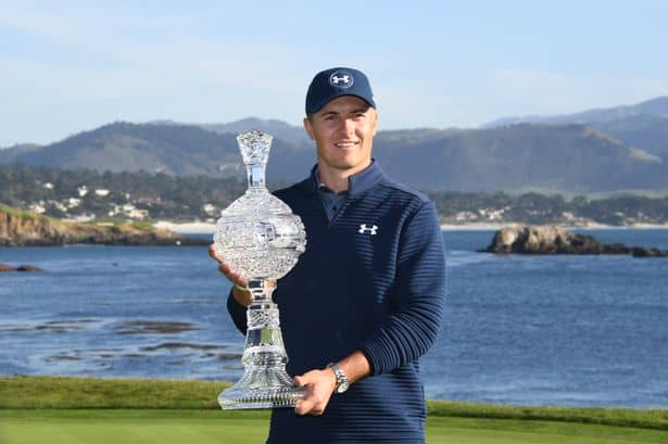 Jordan Spieth pictured with the glass trophy after winning the 2017 Pebble Beach Pro-Am at Pebble Beach, Califfornia. What's in Jordan Spieth's Bag for 2019.