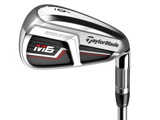 TaylorMade M6 Irons with white background