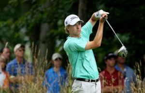 Jordan Spieth taking a swing at the U.S. Junior Amateur tournament