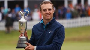 Jordan Spieth holds the Claret Jug after winning the 2017 British Open