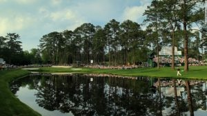 16th hole at the Masters overlooking the pond that guards the green