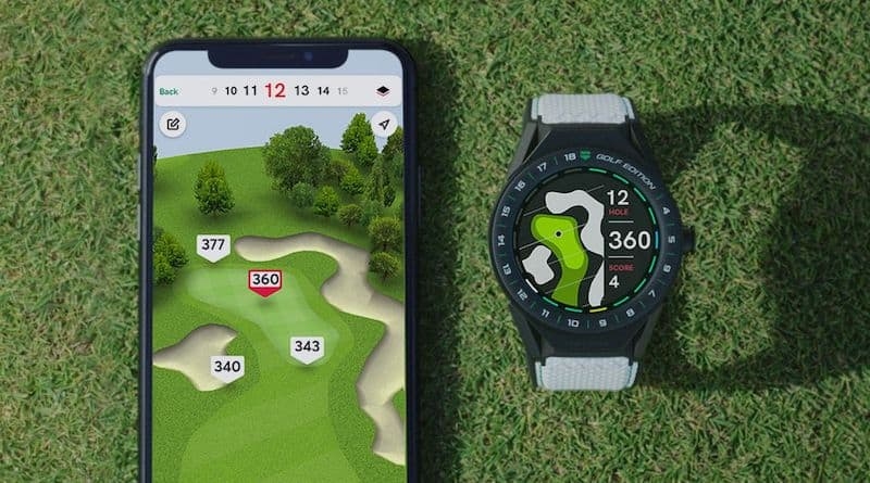 TAG Heuer Connected Modular 45 Golf Edition on the right with a smartphone on the left displaying the app that connects to the watch for the golf course