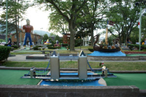 London Bridge replica over water on a mini golf hole at the Around the World mini golf course in Lake George, NY