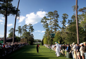 A view from behind the 18th tee at the Masters which is lined with bystanders