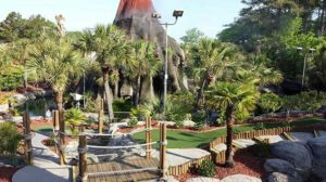 Volcano among a sea of palm trees at the Hawaiian Rumble mini golf course in Myrtle Beach, SC