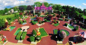 Taj Mahal replica with mini golf holes all around at the Par-King Mini Golf course
