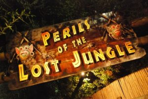 Wood sign for perils of the lost jungle mini golf course
