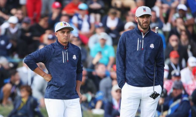 Rickie Fowler and Dustin Johnson standing side by side at the 2018 Ryder Cup. Which one will be the 2019 Masters Champion?