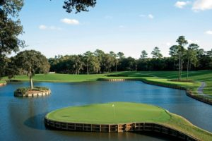 Island green surrounded by water on the 17th hole at TPC Sawgrass where the Players Championship is played
