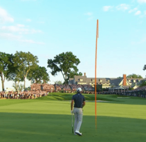 Dustin Johnson's approach shot on hole 18 of Oakmont Country Club is tracked at the 2016 U.S. Open