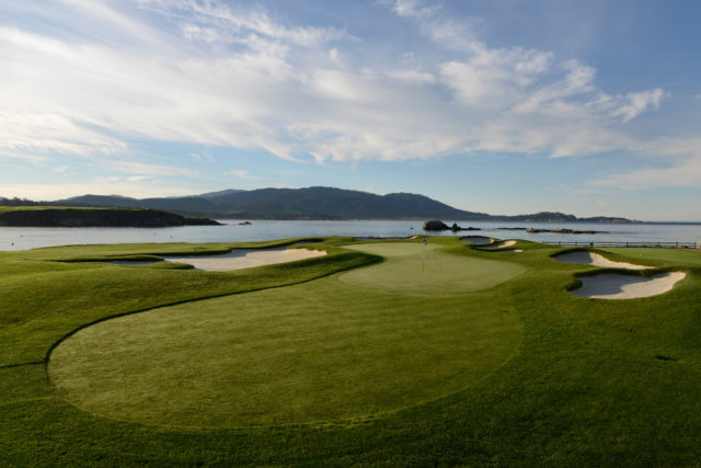 17th fairway and green at Pebble Beach overlooking the Pacific Ocean