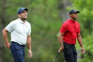 Tiger Woods walking with Francesco Molinari of Italy during the final round of the 2019 Masters played at Augusta National
