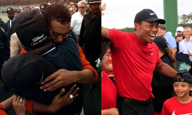 Side by side photos of Tiger Woods hugging his father at the 1997 Masters and Tiger Woods hugging his son after his 2019 Masters win