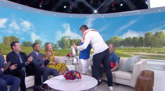 Gary Woodland embracing Amy Bockerstette on the Today Show after winning the 2019 U.S. Open